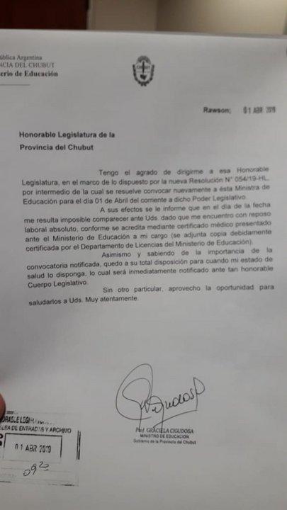 La nota que presentó la ministra en la Legislatura. Foto: ADNSUR