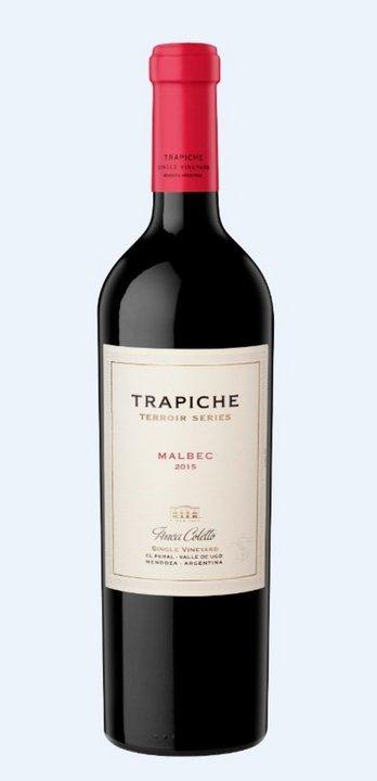 El premiado Malbec Terroir Series Malbec 2015. (Gentileza Trapiche / Grupo Peñaflor