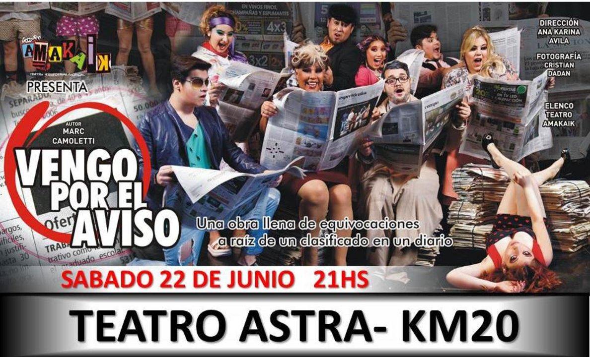 """""""Vengo por el aviso"""" en el Teatro de Astra"""