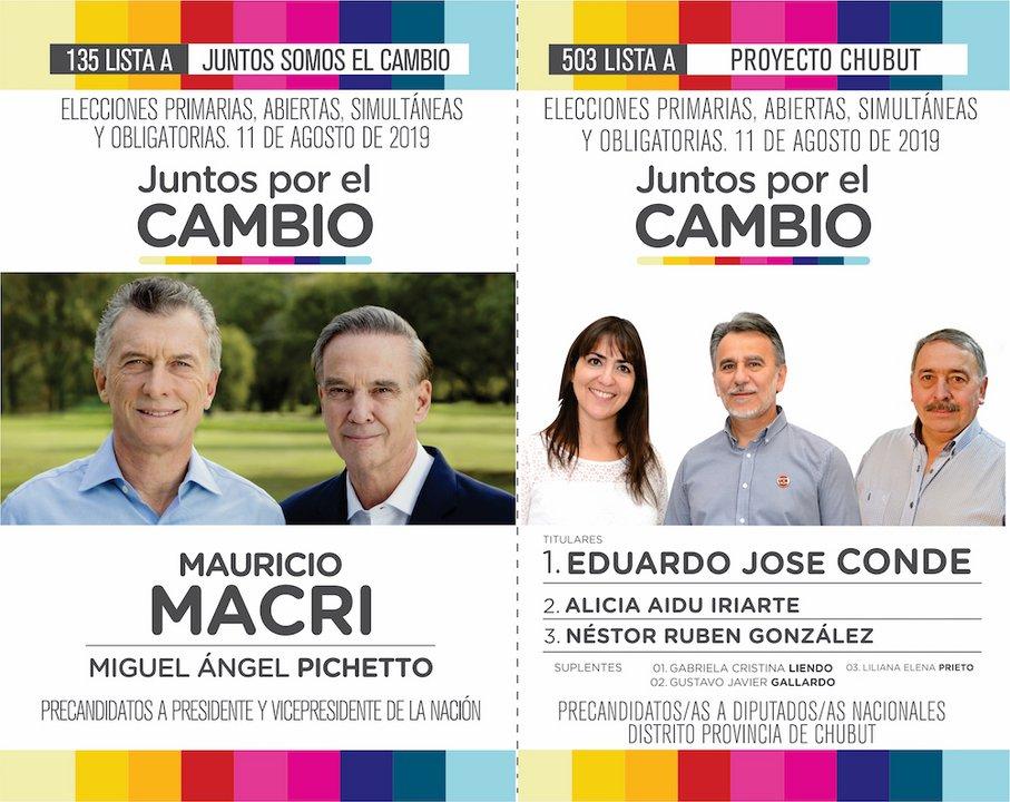 La boleta 135 de Juntos por el Cambio con la fórmula Macri-Pichetto y adherida dentro de su interna provincial con la lista 503 A encabezada por Eduardo Conde.