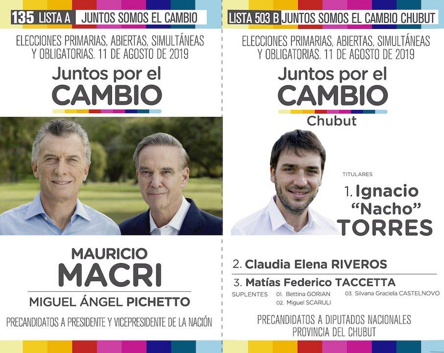 También la fórmula Macri-Pichetto de la lista 135 va pegada a la lista 503 B que encabeza Nacho Torres.