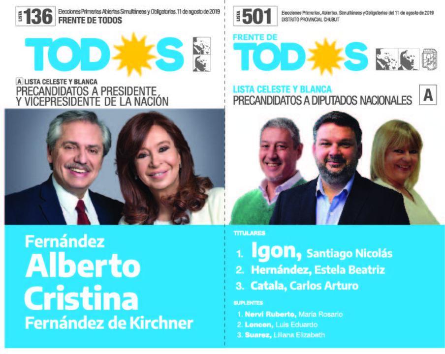 La boleta del Frente de Todos tiene el número 136, con la fórmula presidencial Fernández-Fernández, y en Chubut lleva una única lista del justicialismo, la 501, que encabeza Santiago Igón.