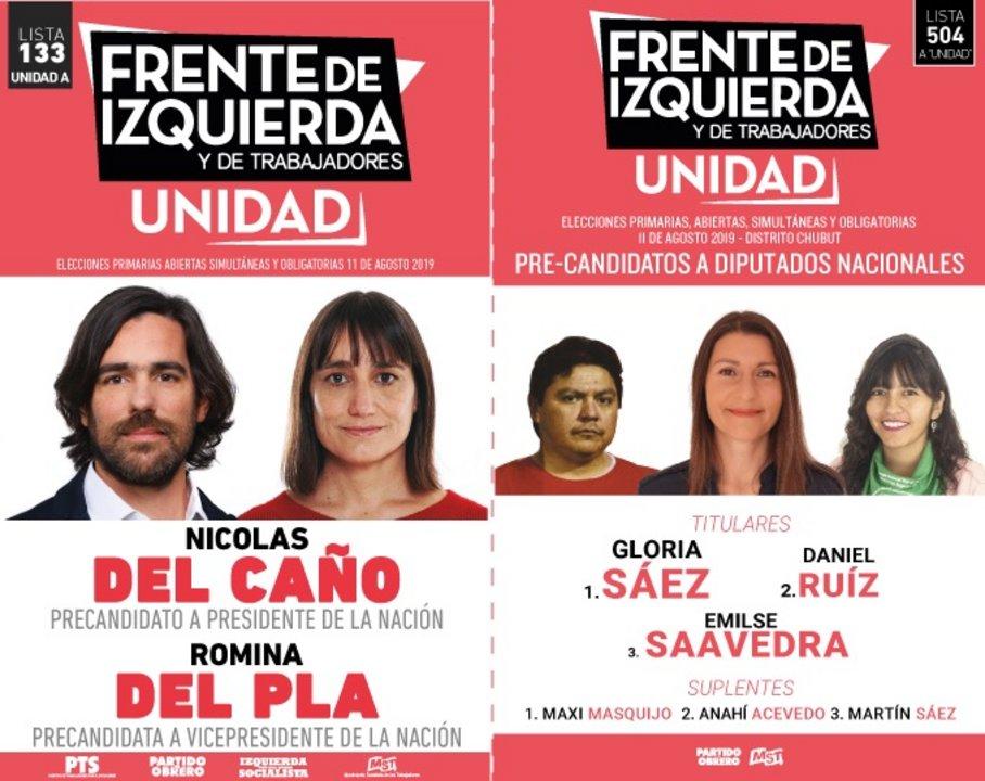 El Frente de Izquierda es la lista 133 con la fórmula Del Caño-Del Pla, y lleva adherida la lista 504 de diputados, encabezada por Gloria Sáez.