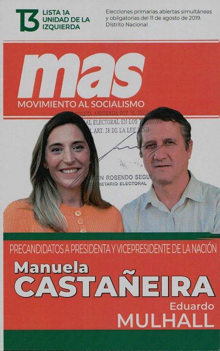 La lista 13, de Movimiento al Socialismo, lleva la fórmula Castiñeira-Mulhall.