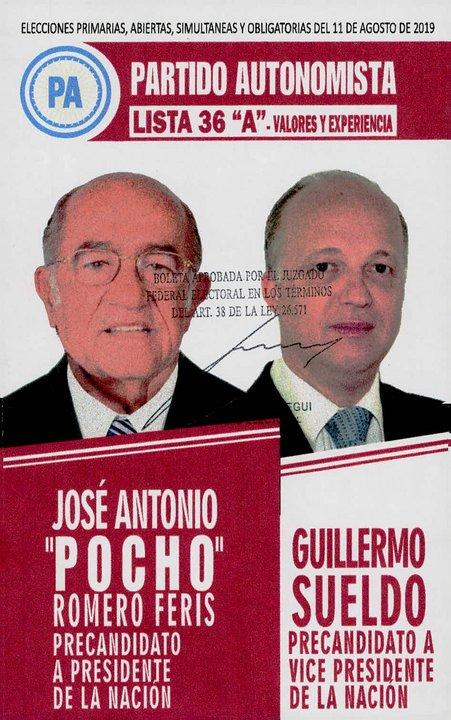 La lista 36, del Partido Autonomista, lleva la propuesta de Romero Feris-Sueldo.