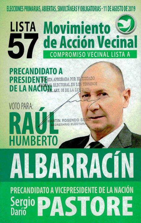 La lista 57, del Movimiento de Acción Vecinal, propone a Albarracín-Pastore.