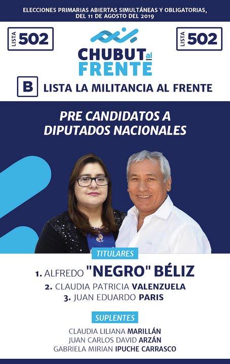 En tanto la lista 502 B también por Chubut al Frente es encabezada por el candidato a diputado Alfredo Béliz.