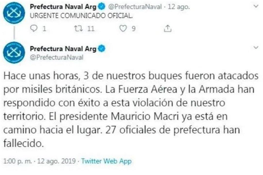 Hackearon el Twitter de la Prefectura Naval con un mensaje falso
