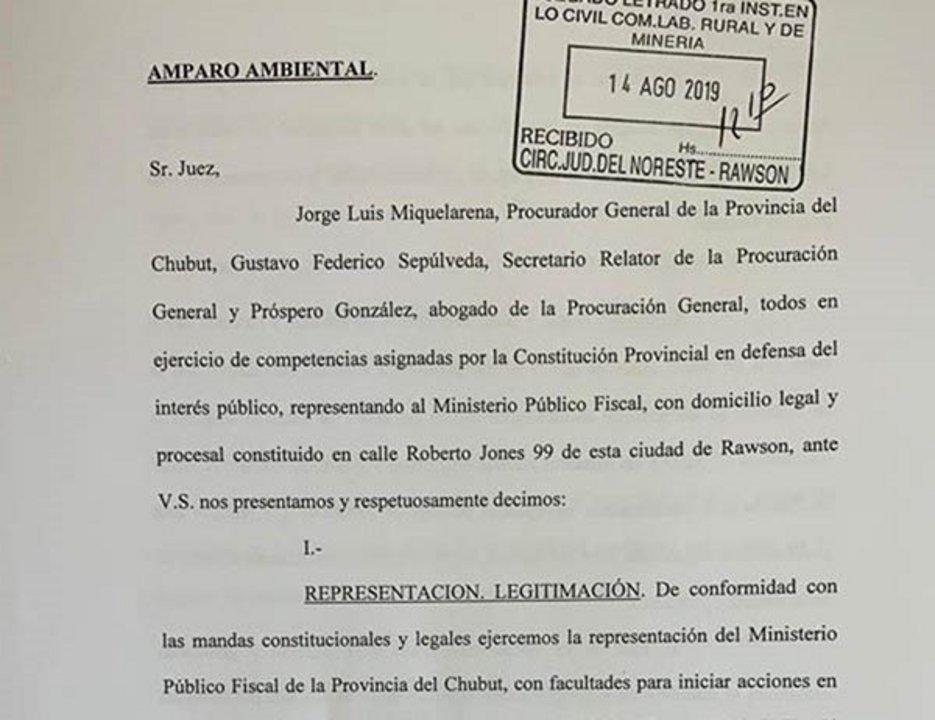 El amparo presentado. Foto: Diario Jornada