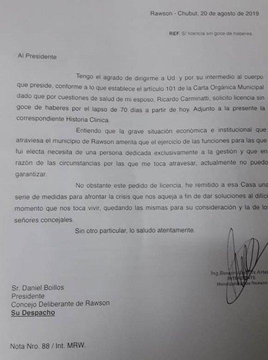 La nota presentada al Concejo Deliberante de Rawson.
