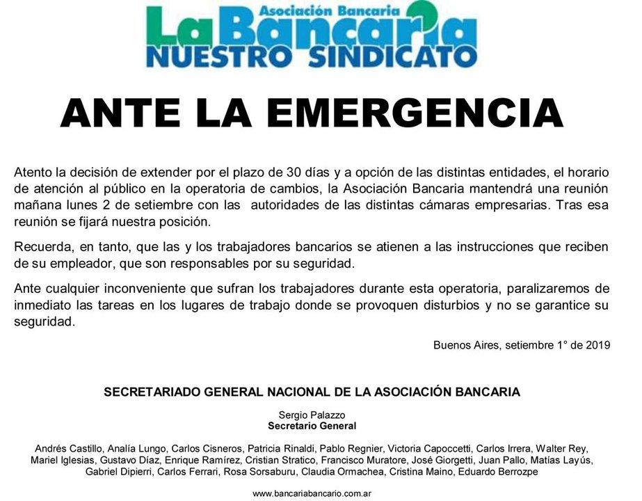 """Comunicado oficial de """"La Bancaria"""""""