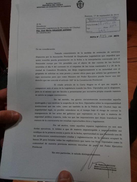 El documento presentado por Massoni al presidente de la Legislatura para pedir la banca 28.