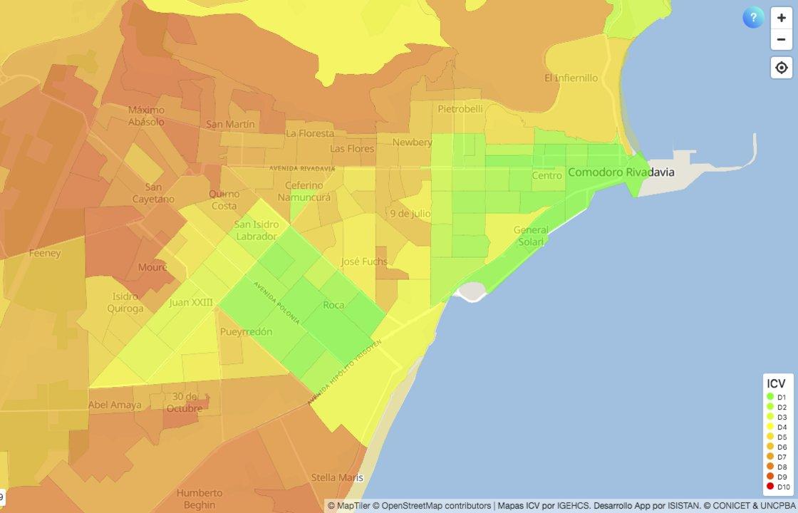 El mapa del ICV (Índice de Calidad de Vida) que visibiliza las condiciones en Comodoro Rivadavia y Rada Tilly (www.icv.conicet.gov.ar)