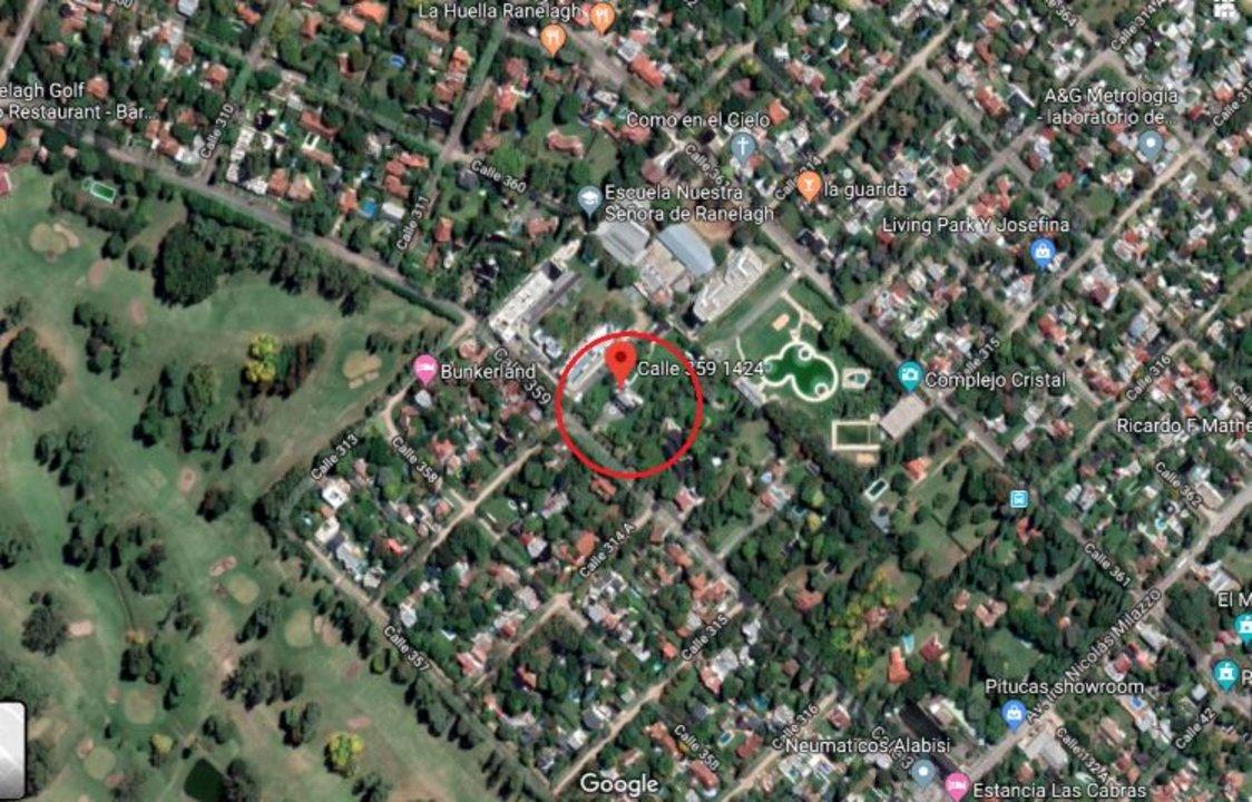 Imagen satelital de la casa en Google Maps.
