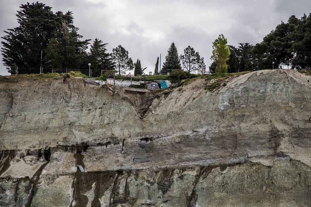 La erosión es evidente en el sector. Los estudios permitirán saber el estado del suelo y sus características.