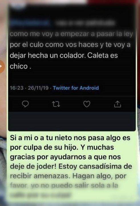 Una de las capturas de pantalla de los mensajes que la joven amenazada guardó en su celular