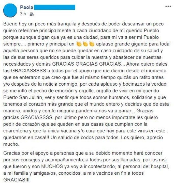 La mujer agradeció el apoyo de su pueblo en Facebook