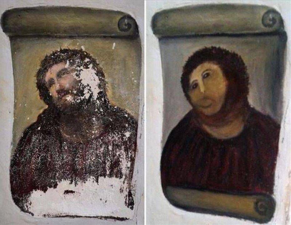Foto 1. Restauración del Ecce Homo de Borja, en España, a cargo de Cecilia Giménez