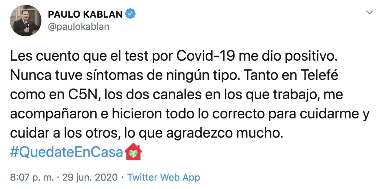 Nuevo positivo en Telefe: Paulo Kablan