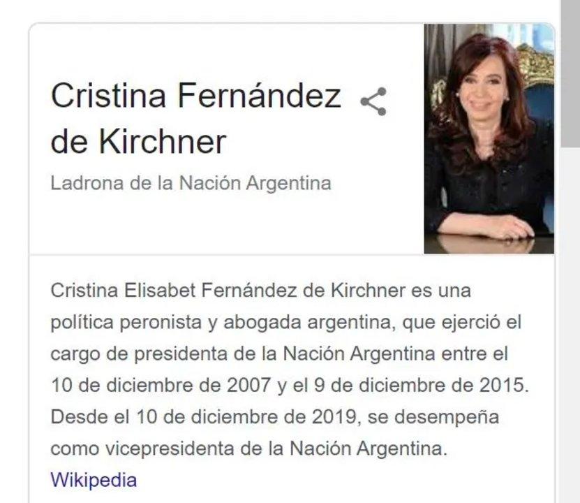 Cristina Kirchner demandó a Google por citarla como