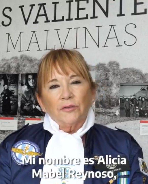 Alicia Reynoso, veterana de Guerra que prestó servicios en Comodoro Rivadavia. (Video presidente Alberto Fernández)